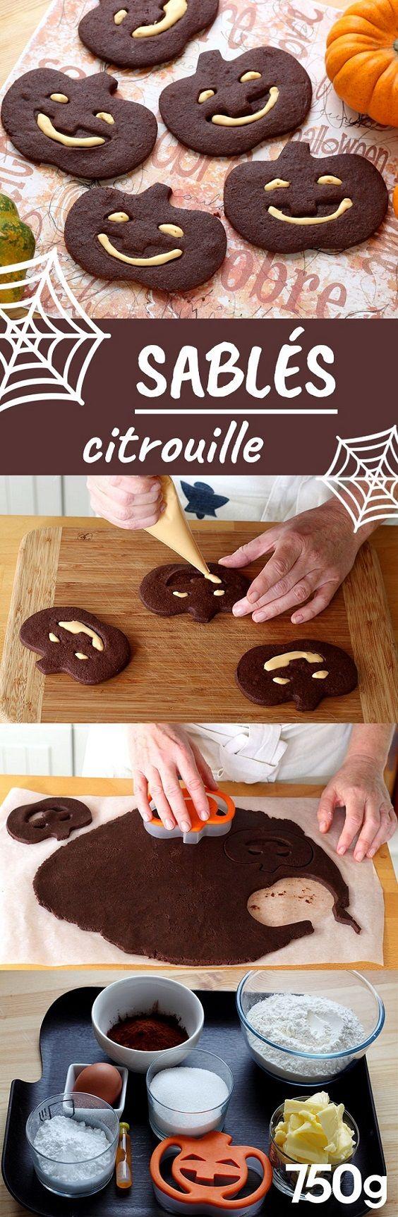 Des sablés au chocolat en forme de citrouille à croquer pour Halloween.