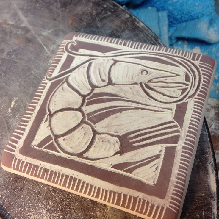 In the studio ~ #sgraffito #tile #gulfcoast inspired #shimp #workinprogress