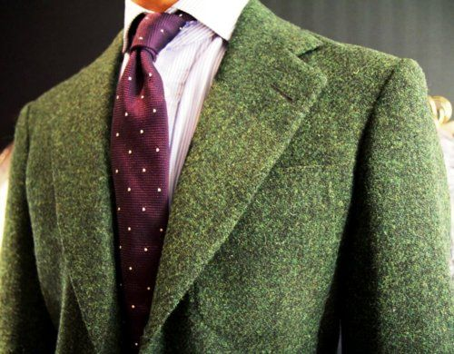 Green Tweed Blazer Mens Fashion Ql