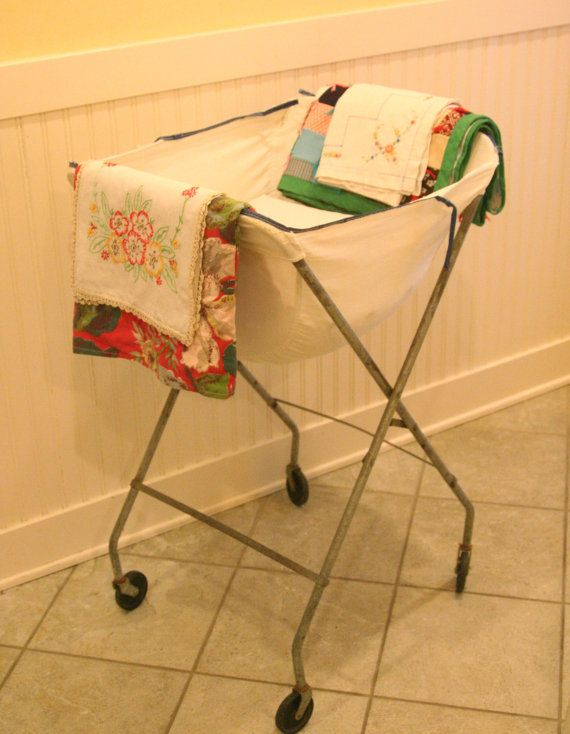 Vintage collapsable rolling laundry cart basket storage for Laundry room baskets with wheels