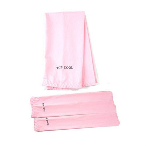 1pair Pink Cooling Arm Sleeves UV Protection Golf Sports Cycling Driving HS07 #Unbranded