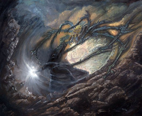 Now Melkor came to Avathar and sought her out; and he put on again the form that he had worn as the tyrant of Utumno: a dark Lord, tall and terrible. In that form he remained ever after. ~ The Silmarillion, Of the Darkening of Valinor. (Artwork: Morgoth and Ungoliant by Guy Gondron)
