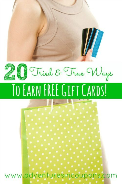 """People often ask me how I save so much on everyday items, Christmas and birthdays. The answer? With FREE Gift Cards! These  20 Tried & True Ways to Earn FREE Gift Cards will have you spending less cash in no time! This is my complete list with 3 Bonus sites I use to """"shop for Free"""" too!"""