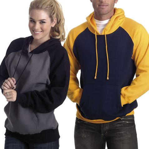 Hoodies with front pocket in two-tone contrast colours design. Cotton rich, low pill 290gsm 80% cotton, 20% polyester. Brushed fleece inside, smooth jersey outside. Single layer hood, modern styling. Cotton knit cuffs and waist band. Colour combinations charcoal and black, navy and gold, navy and white, white and black. Sizes men unisex XS, S, M, L, 2XL, 3XL, 5XL. Buy online bulk wholesale, no minimum, from blankclothing.com.au in Australia.