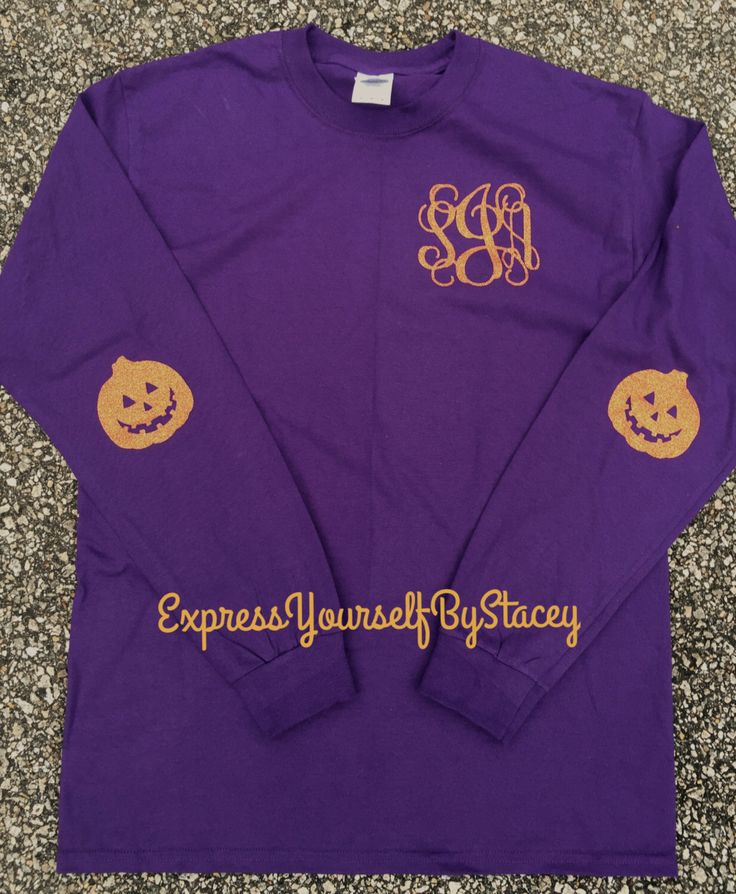 Halloween Monogrammed Tee, elbow patches glitter tee A ...