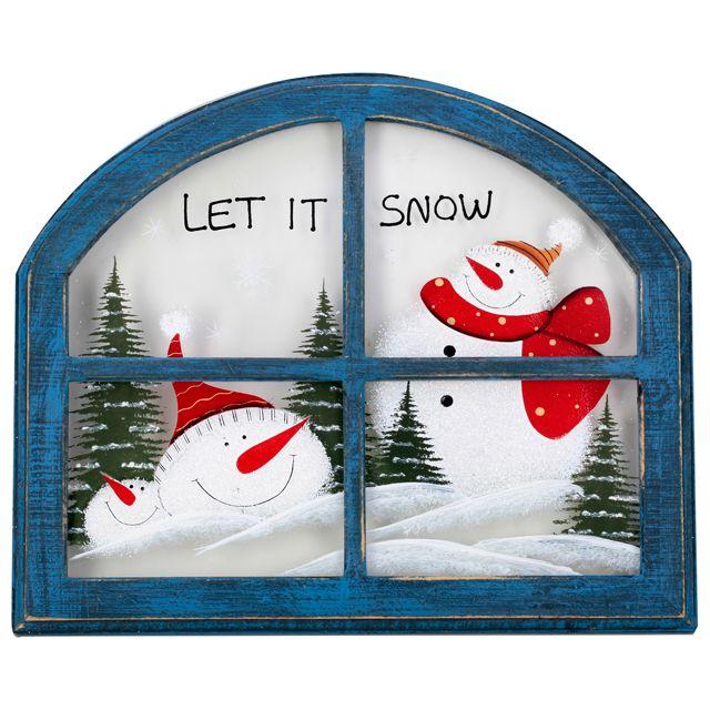 Картина Lapland Снеговик в окне дерево 31х26см синяя Q04450076