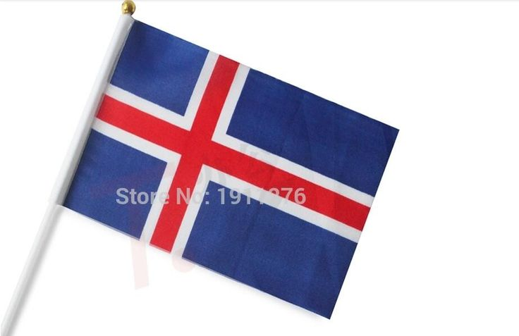 10PCS / lot 21*14cm Iceland National Flag Iceland Flying Flag Banner Polyester Printed Iceland Flag Football Flag For World Cup