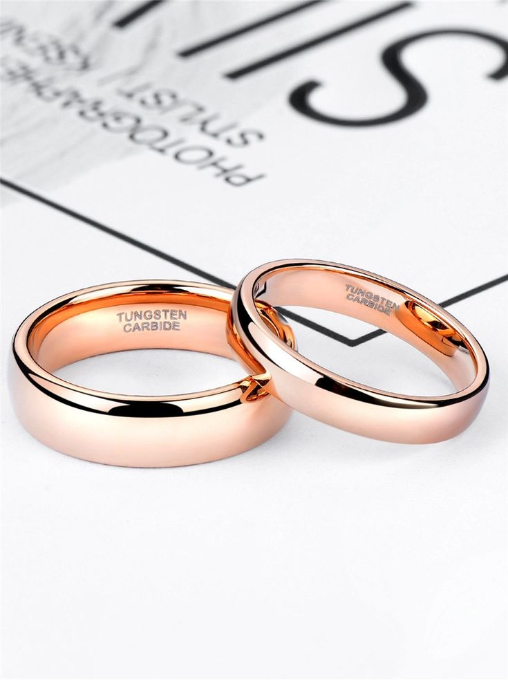 50% OFF Code: PERFECT – Rose Gold Tungsten Mens Womens Wedding Band Plain High Polished