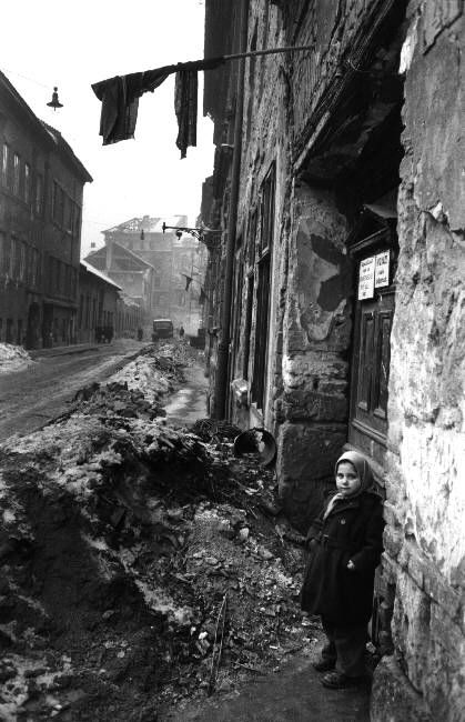 Erich Lessing  Damaged street of Budapest after the uprising.