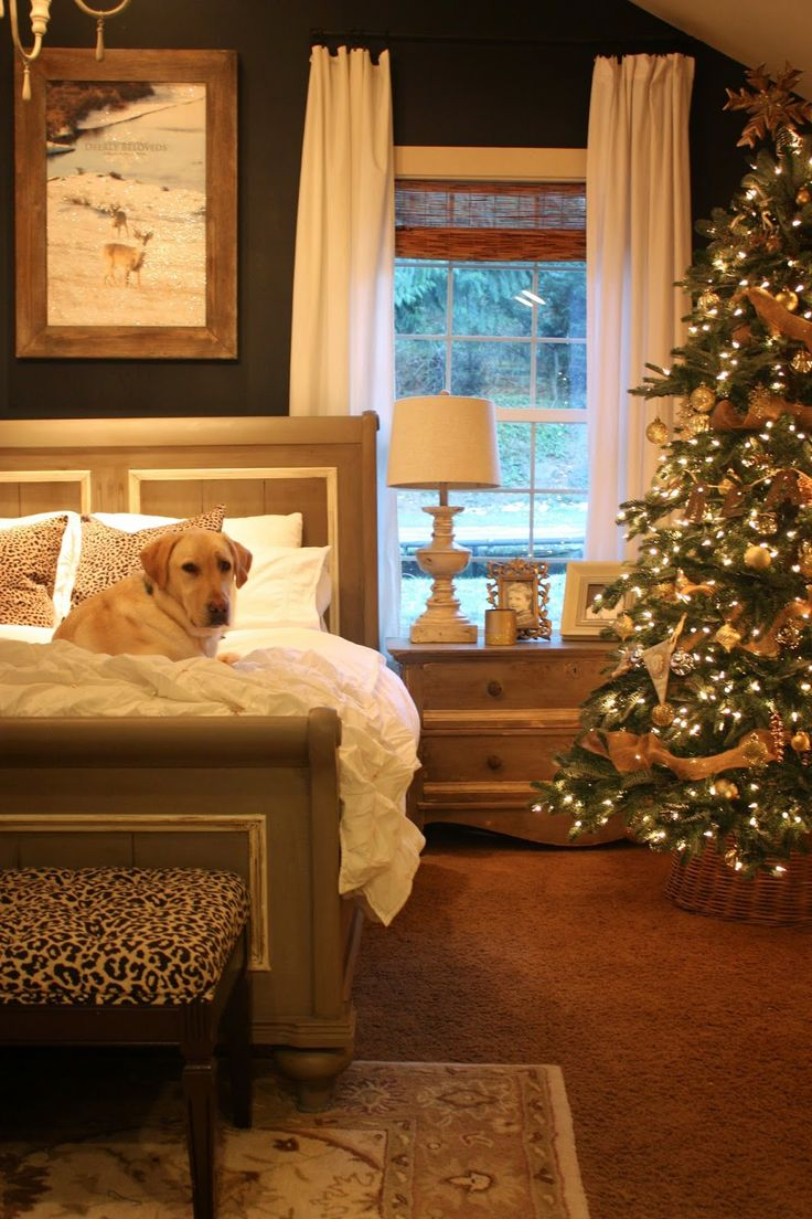 My Sweet Savannah: ~balsam hill trees~{12 bloggers of Christmas} I love the tree in the bedroom (and love the dog)