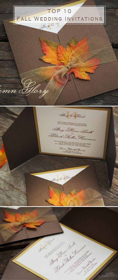 maple leaves inspired fall wedding invitations: