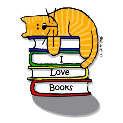 "I LOVE BOOKS Cat Square Magnet (2x2"") © Sharon FERNLEAF (Artist. Phoenix, Arizona) aka BlessingArtAnimals shop via zazzle. $3.45 each. Too dang cute :-)"