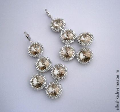 Серьги вечерние - серебряный,beads,jewelry,handmade,swarovski,бисер,украшения из бисера
