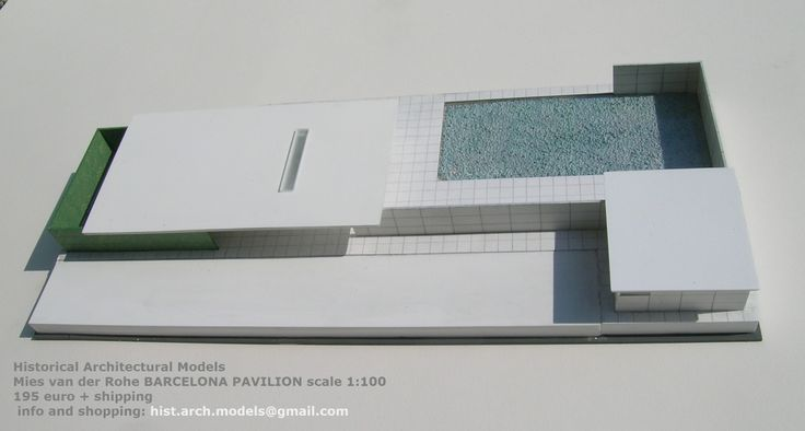BARCELONA PAVILION by Mies van de Rohe, scale 1:100 size cm 54 x 23,5 The model is constructed in resin and Forex an plexiglas Finished and colored by hand. Signed Lucio Tuzza. I ship worldwide 195 € + shipping information and bookings: hist.arch.models@gmail.com