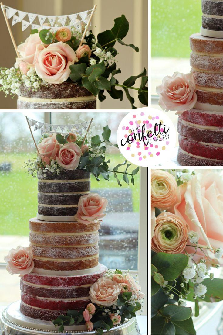 Beautiful naked cake, Red Velvet, chocolate mud and lemon sponge. Gorgeous Avalanche roses, ranunculus, gypsophilia and eucalyptus. Photo: The Confetti Cakery.