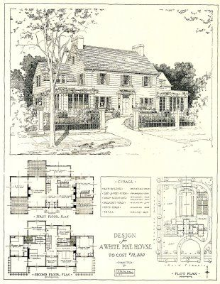 1917 architectural design for a white pine house costing 12,500 USD.