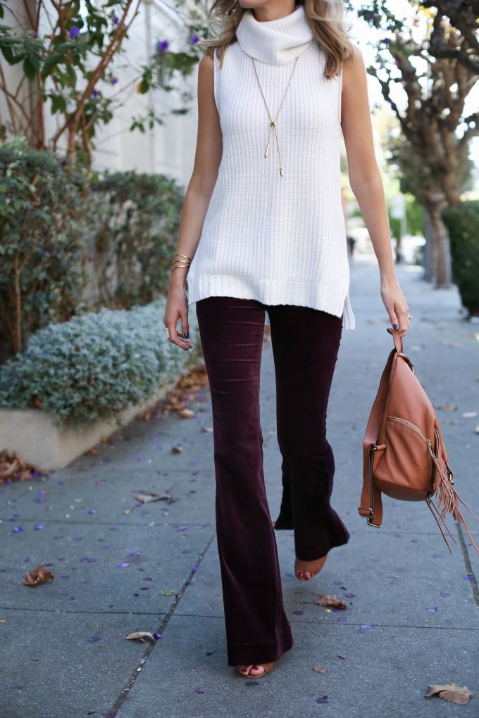 c j brand velvet flare leg burgundy jeans ivory cowl neck tunic side zip sweater rebecca minkoff fringe backpack mules work wear casual friday business casual 70s style fashion blog san francisco