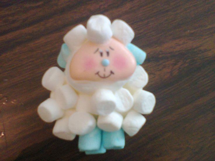 Recuerdo para bautizo borreguito hecho de bombones for Recuerdos para bautizo nino