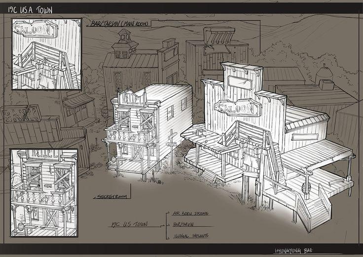 Line drawing concept for US 19Century_Bar and the secret room, Brenda Bae on ArtStation at https://www.artstation.com/artwork/NZdq