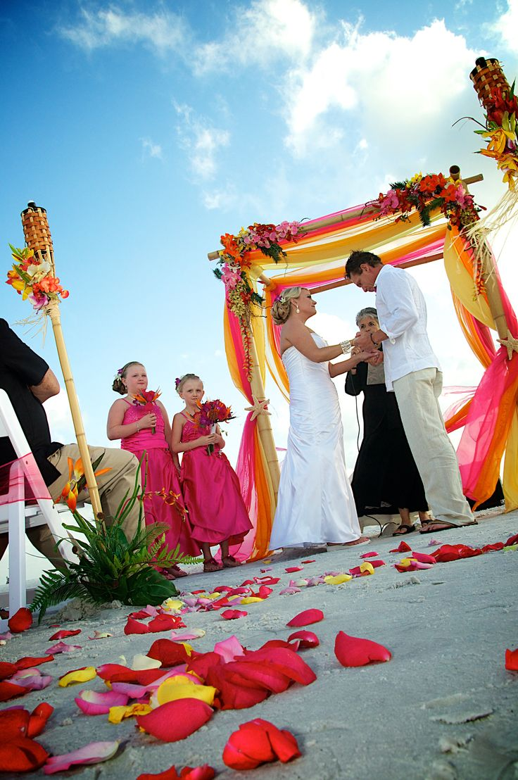 #pink #orange #yellow tropical beach wedding