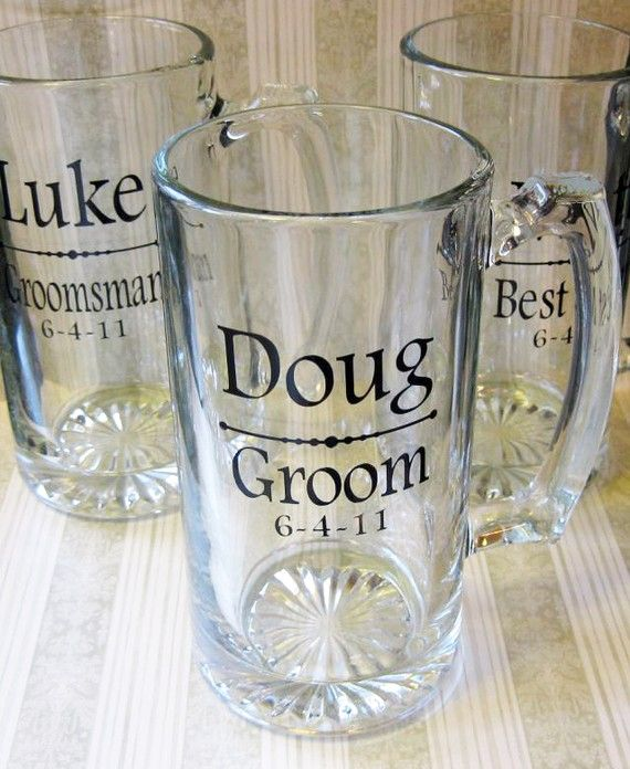 "Personalized beer steins - love the fact that is says, ""Doug"" on the groom's glass! :)"