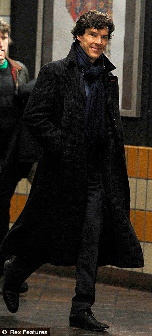 Back to business: A day later Benedict was in character again as he arrived for another day of filming with his castmates