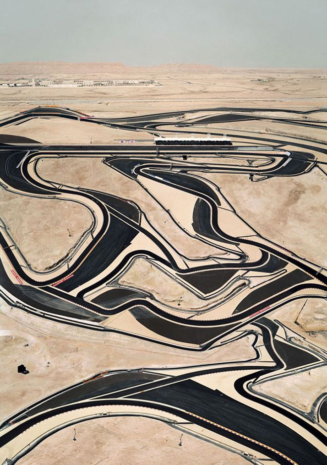 'Bahrain I' (2005) photo by Andreas Gursky of the Bahrain International Circuit motorsport venue.