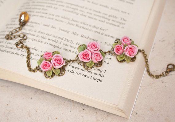 pink rose bracelet flowers bracelet vintage by Joyloveclay on Etsy