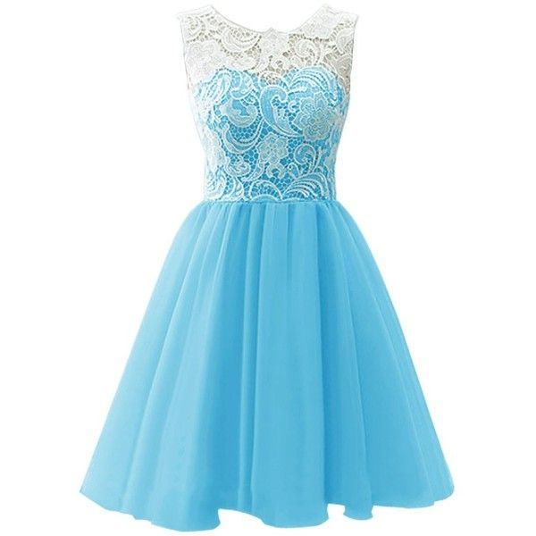 Dresstells Short Tulle Prom Dress Bridesmaid Homecoming Gown with Lace ($70) ❤ liked on Polyvore featuring dresses, blue, short dresses, blue cocktail dress, bridesmaid dresses, cocktail prom dress and prom dresses