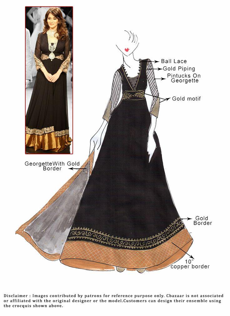 DIY Black Madhuri Dixit Floor Length Anarkali Suit