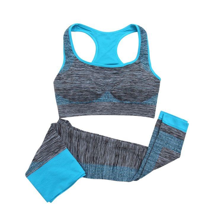 2 Pcs Wanita Yoga Set Kebugaran Mulus Bra + Celana Legging Set Gym Workout Olahraga Memakai