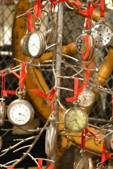 Old pocket watches.  This is one idea for displaying them.