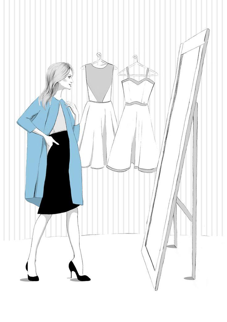 Shoping fashion illustration by illustrator Kelly Thompson for Four Seasons recruitment London www.kellythompsoncreative.com