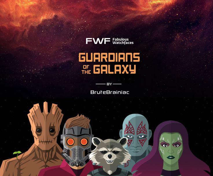 Guardians of the Galaxy watch face by BruteBrainiac / #fwf #fabulouswatchfaces #androidwear #moto360 #huaweiwatch #tagheuer #huaweiwatch #smartwatch #watchface