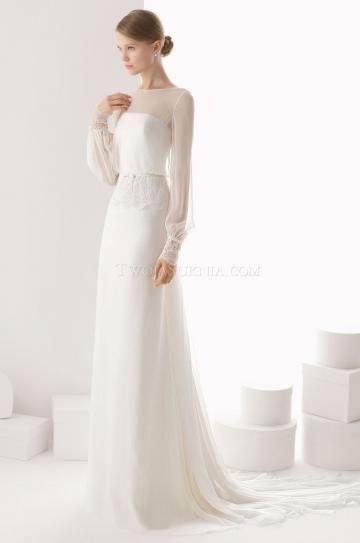 Look luminoso e scintillante Maniche Lunghe Stile impero Abiti da sposa impero