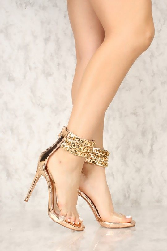 0ed01e43af Sexy Rose Gold Mirrored Chain Open Toe Platform High Heels Patent in ...