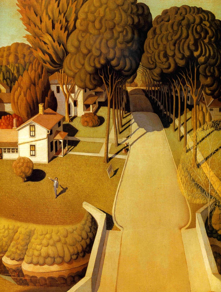 Grant Wood (1891-1942) was born on a farm near the small town of Anamosa, in 1891.  By painting simple scenes of the land and people he knew best, he helped create an important, all-American style of art.  Grant Wood's paintings show the love he had for the people and customs of the Midwestern United States.  Grant Wood particularly loved the farmland of Iowa.