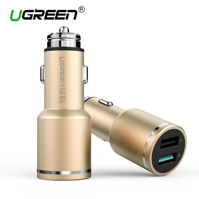 Ugreen Car Charger Quick Charge 3.0 Car-Charger 2.8A 18W Dual Usb Smart Charger Fast Phone Charger For Samsung Huawei Xiaomi