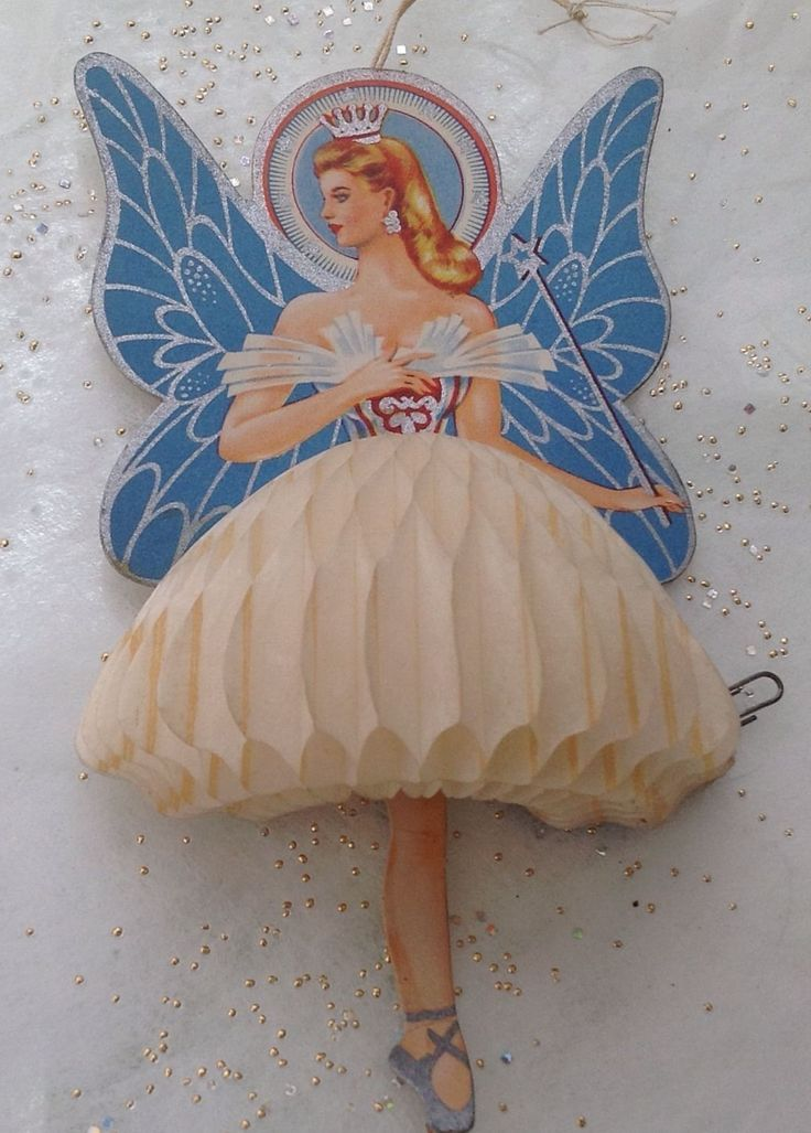 vintage Christmas fairy angel honeycomb decoration ornament
