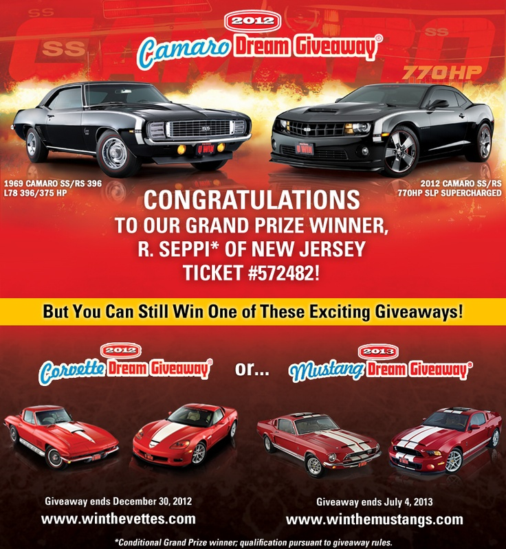 Wow! Congrats to R. Seppi of NJ the conditional winner of the Camaro Dream Giveaway! He's won both of these smokin' hot Camaros: a 1969 Camaro SS/RS and a 2012 770HP Camaro SS/RS plus cash towards prize taxes- Way to go!