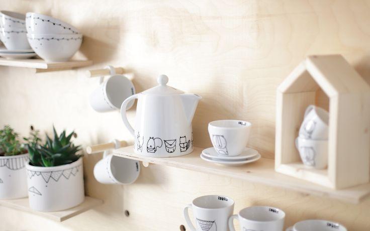 Large, white originally designed and hand-painted jug for tea or coffee by forrestdesign http://forrestdesign.pl/jug-animals-prod215081.htm