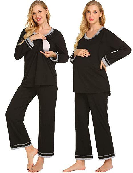 109ccf98ba9 Ekouaer Maternity Nursing Pajamas Set Womens Soft Pregnancy PJs  Breastfeeding Hospital Sleepwear Set