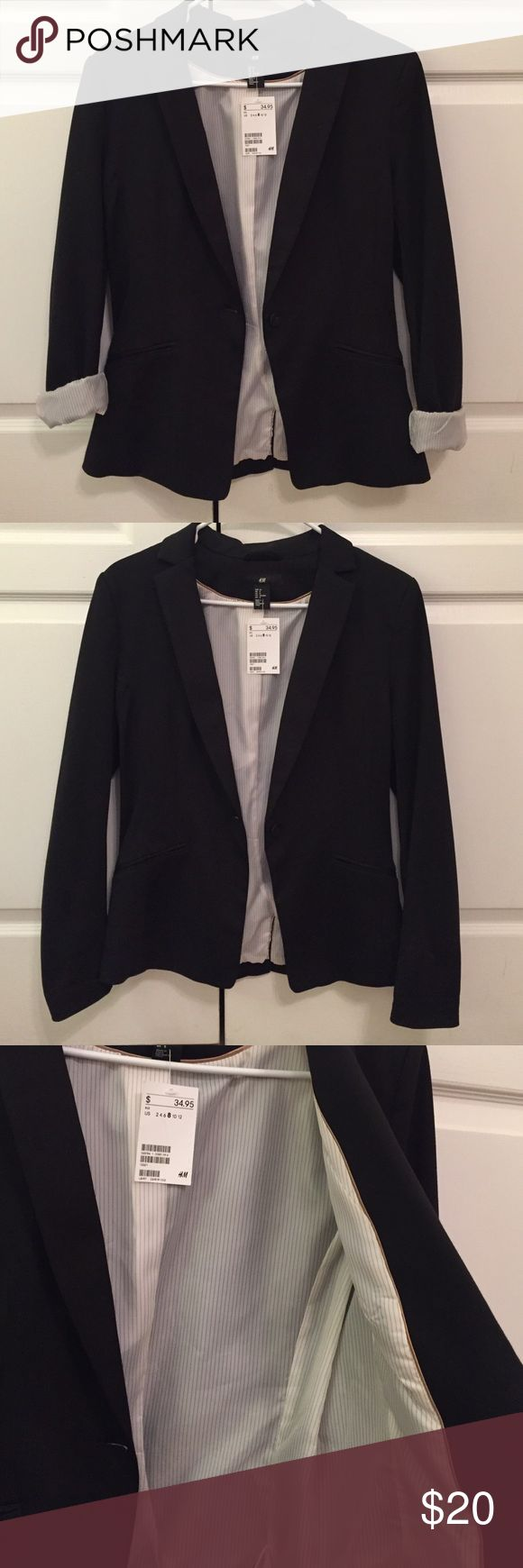 H&M Black suit jacket. Never worn black suit jacket. Nice gold strips on the inside. Great for rolling up the sleeves! H&M Jackets & Coats Blazers