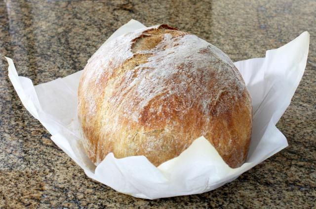 This bread is a snap to prepare, all you really need is time to let the yeast work. The bread is baked in a Dutch oven or large, heavy pot or crockery.