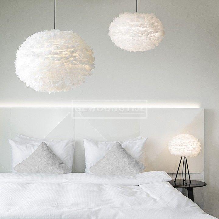 Vita | EOS hanglamp mini white wit | Romantische designlamp | Ganzenveren | Gewoonstijl