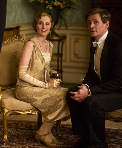 Laura Carmichael as Lady Edith Crawley and Charles Edwards as Michael Gregson in Downton Abbey (TV Series, 2013).