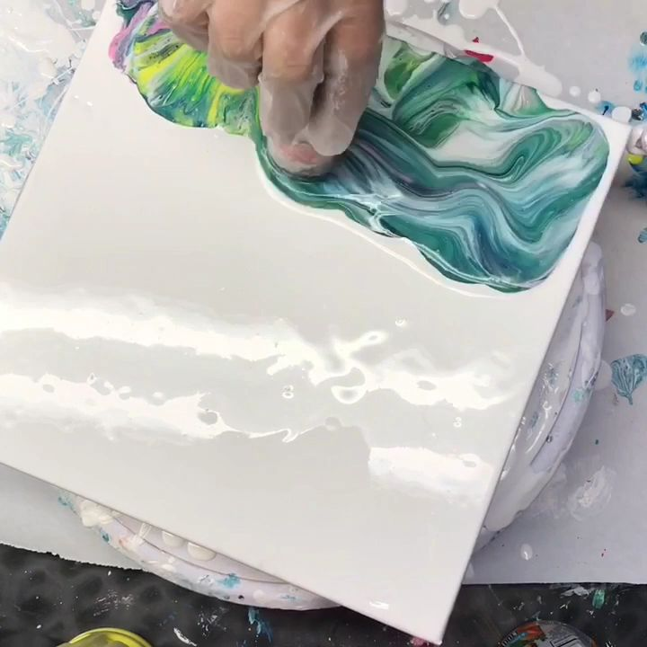 Acrylic pour painting process video