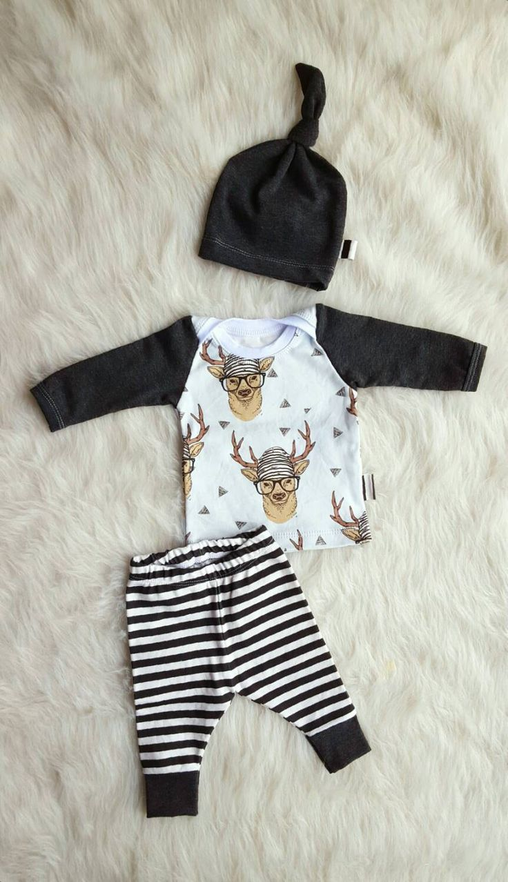 Hipster Deer Coming Home Outfit, Leggings, Shirt, & Matching Knot Hat, Size Newborn, Baby Boy,  Convo for Larger Sizes by brambleandbough on Etsy