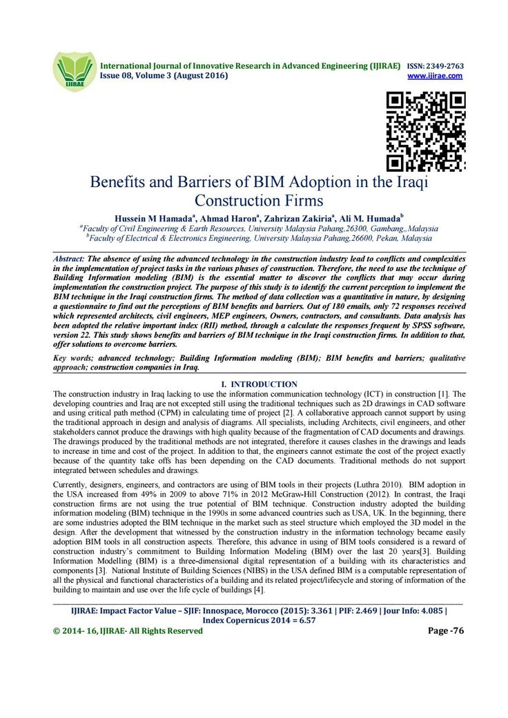 Benefits and Barriers of BIM Adoption in the Iraqi Construction Firms
