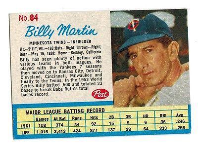 1962 Post # 84 Billy Martin   Minnesota Twins  EM  0714